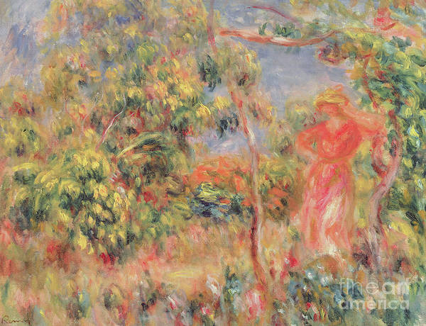 Wall Art - Painting - Figure In A Garden, 1917  by Pierre Auguste Renoir