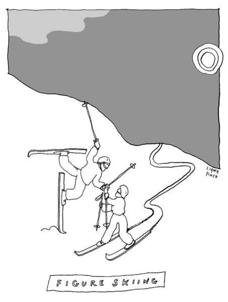 Skiing Drawing - Figure Skiing by Liana Finck