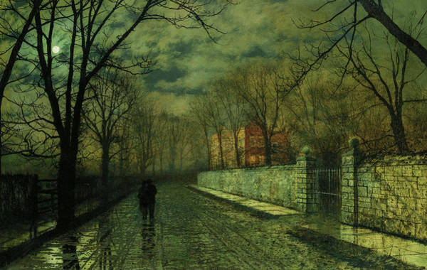 Moon Shadow Painting - Figures In A Moonlit Lane After Rain by John Atkinson Grimshaw