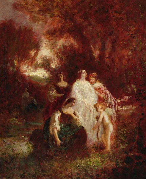 Wall Art - Painting - Figures In The Woods, 1862 by Adolphe Monticelli
