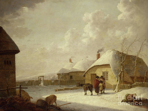 Wall Art - Painting - Figures Outside A Cottage In The Snow by Hendrik Willem Schweickardt