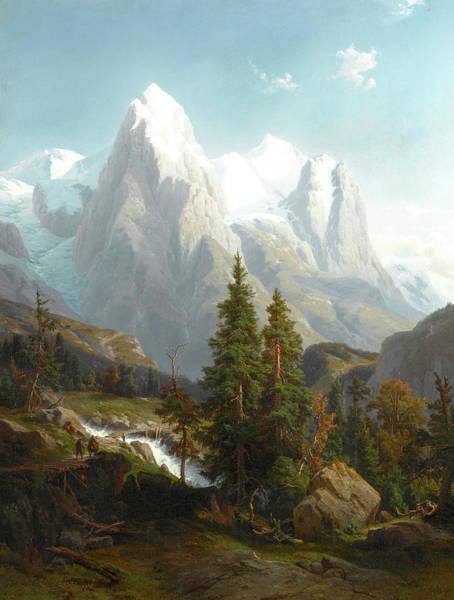 Wall Art - Painting - Figures Walking In A Mountain Landscape by Johann Wilhelm Lindlar
