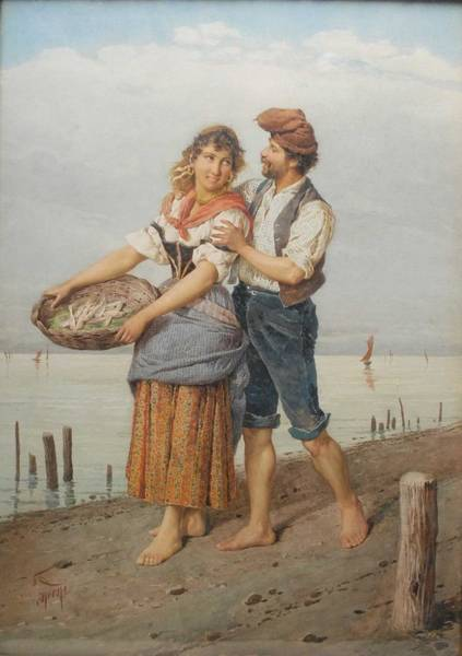 Wall Art - Painting - Filippo Indoni  Italian, 1800-1884 Courting Fisherfolk by Celestial Images
