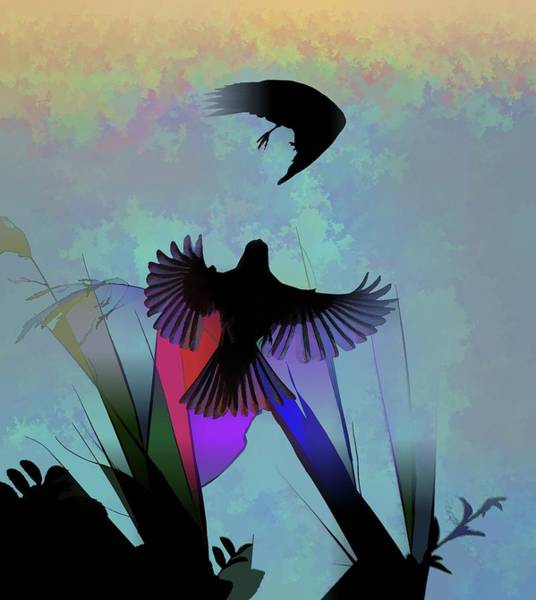 Bird In Flight Digital Art - Finches With Leaves I Silhouette Abstract  by Linda Brody