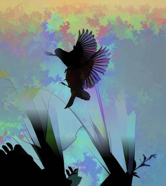 Bird In Flight Digital Art - Finches With Leaves II Silhouette Abstract by Linda Brody