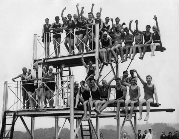 Diving Board Photograph - Finchley Lido by Fox Photos