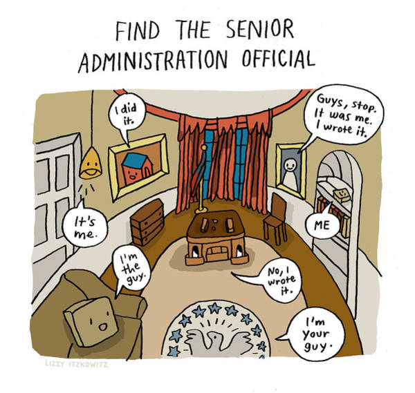 Drawing - Find The Senior Administration Official by Lizzy Itzkowitz
