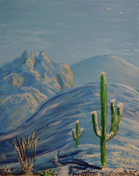 Painting - Finger Rock Trail Snow, Tucson, Arizona by Chance Kafka