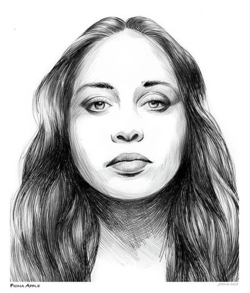 Apple Drawing - Fiona Apple by Greg Joens