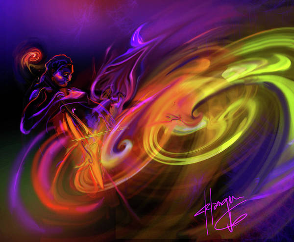 Sax Painting - Cellist In Space by DC Langer