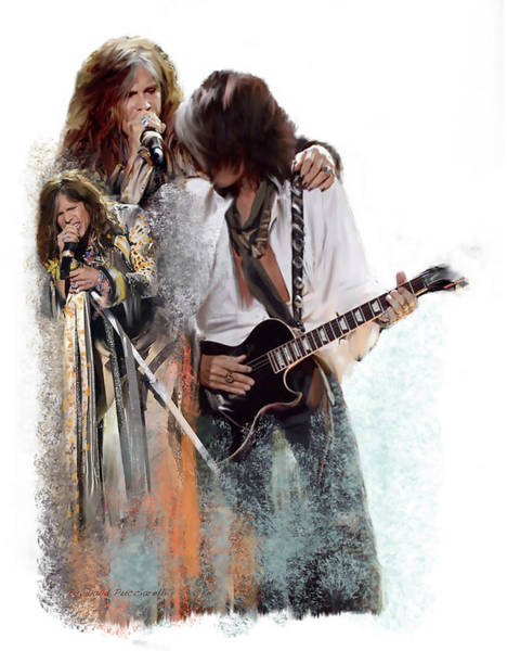 Wall Art - Painting -  Fire And Lightning Steven Tyler And Joe Perry Aerosmith by Iconic Images Art Gallery David Pucciarelli
