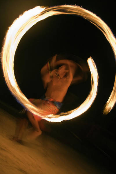 Phi Photograph - Fire Dancer Performing At Hat Hin Khom by Andrew Watson