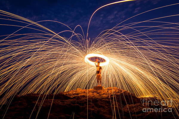 Steel Wall Art - Photograph - Fire Dancing On The Rocks by Infinity T29