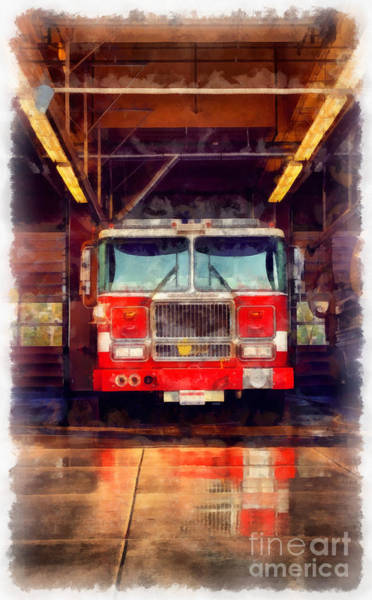 Wall Art - Photograph - Fire Engine Watercolor by Edward Fielding