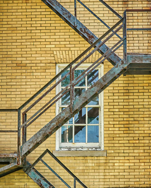 Photograph - Fire Escape On Colorful Brick Wall by Gary Slawsky