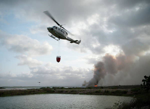 Service Photograph - Fire Fighting Helicopter Approaches by Gavind