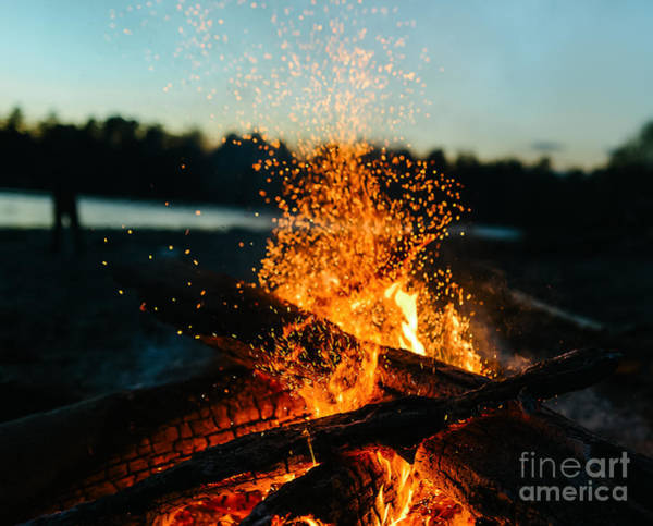 Wall Art - Photograph - Fire In Nature . Bokeh From The Fire by Ivandan