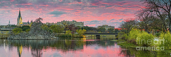Wall Art - Photograph - Fire In The Sky Above Our Lady Of The Lake University And Elmendorf Lake - San Antonio Texas by Silvio Ligutti