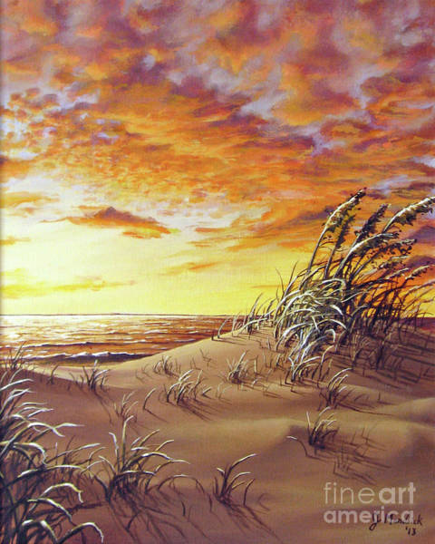 Sea Oats Painting - Fire In The Sky by Joe Mandrick