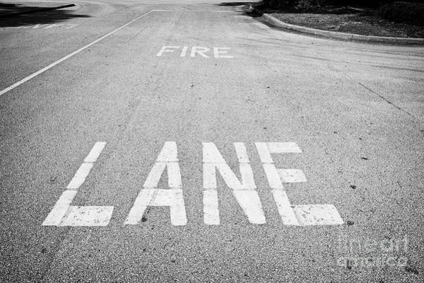 Wall Art - Photograph - Fire Lane Markings On Road In A Commercial Parking Lot Florida Usa United States Of America by Joe Fox