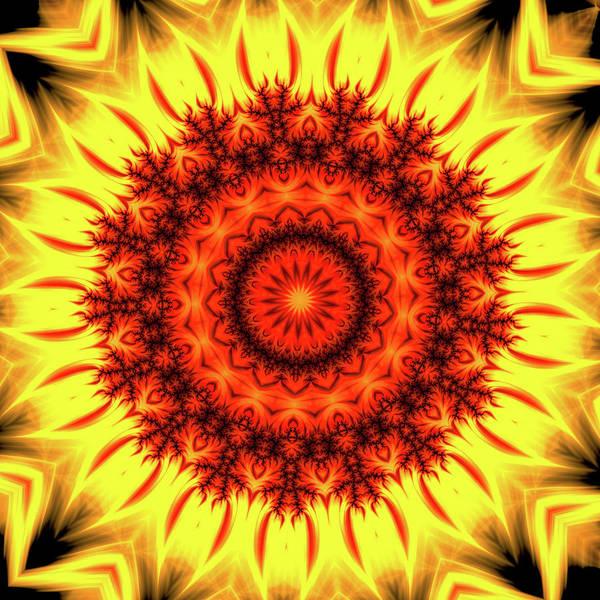 Wall Art - Digital Art - Fire Mandala Art Orange And Yellow by Matthias Hauser