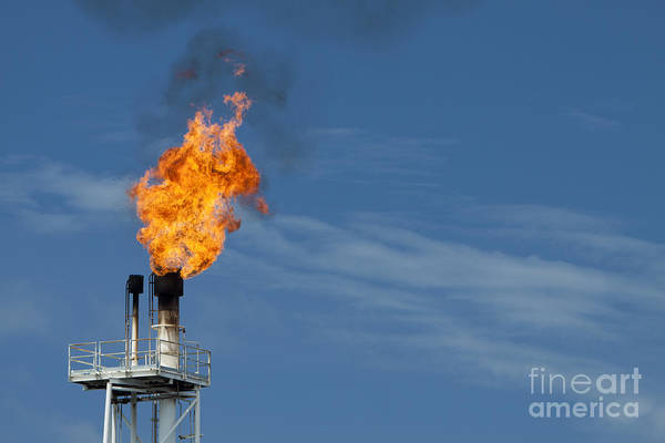 Fuel Wall Art - Photograph - Fire On Rig In The Gulf Of Thailand by Tigergallery