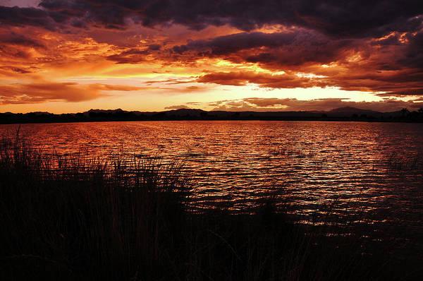 Photograph - Fire Over The Laramie Range And Festo Lake by Chance Kafka