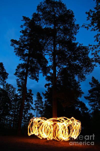 Wall Art - Photograph - Fire Spinning At Night In Forest by Juhku