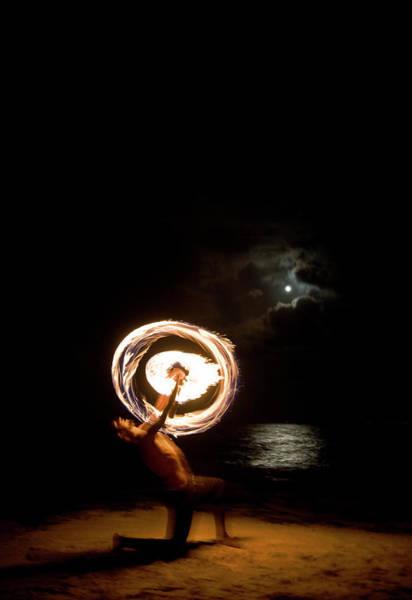 Fire Ring Photograph - Firedancer On The Beach Under A Full by Scott Stulberg