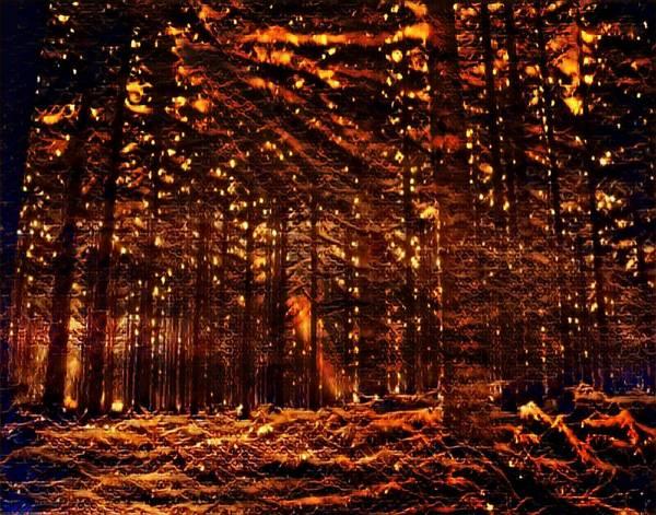 Mottled Mixed Media - Firefly Woodlands Vii by Marshall Thomas