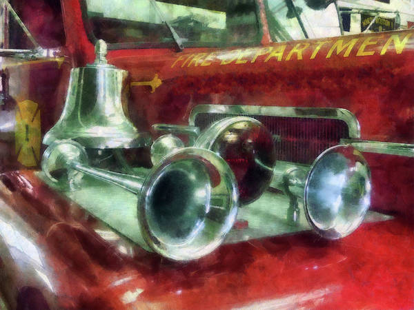 Photograph - Fireman - Fire Engine Horns And Bell by Susan Savad