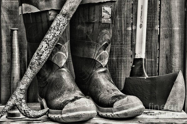 Wall Art - Photograph - Fireman-gear At The Ready Black And White by Paul Ward