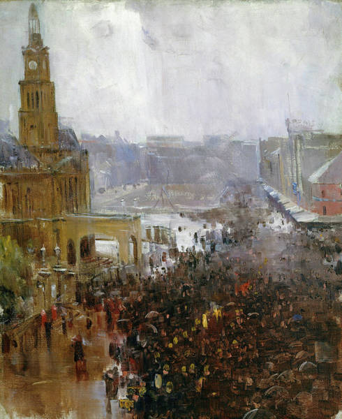 Wall Art - Painting - Fireman's Funeral, George Street - Digital Remastered Edition by Arthur Streeton