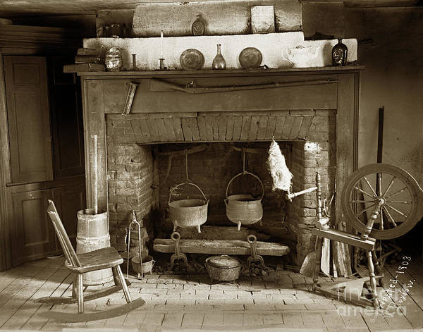 Photograph -  Fireplace   Made Of Bricks With Cooking Cauldron With A Rifel 1903 by California Views Archives Mr Pat Hathaway Archives