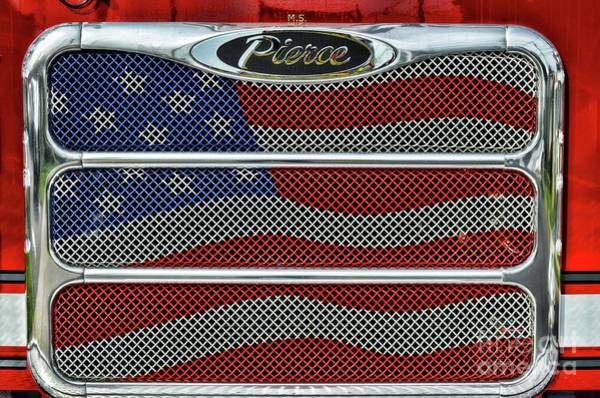 Wall Art - Photograph - Firetruck Usa Grill by Paul Ward