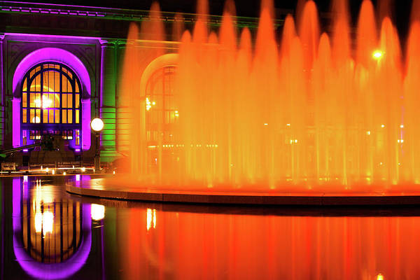 Photograph - Firewater At Henry Wollman Bloch Fountain - Kansas City Union Station by Gregory Ballos