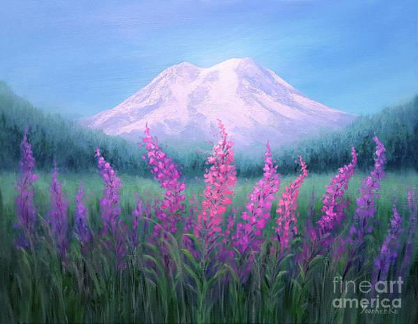 Wall Art - Painting -  Fireweed Phenomenon On Mount Rainier by Yoonhee Ko