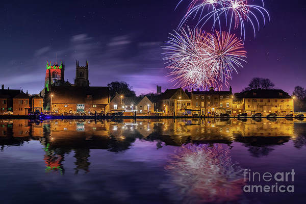 Kings Lynn Wall Art - Photograph - Firework Display Over Town And River by Simon Bratt Photography LRPS