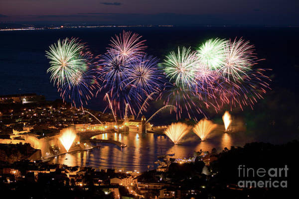 Wall Art - Photograph - Firework Over Harbor At Night by Bruno Paci