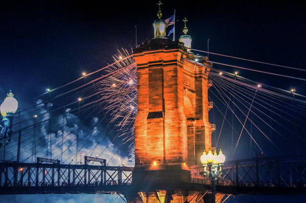 Wall Art - Photograph - Firework Over Roebling Suspension Bridge,ohio  by Art Spectrum