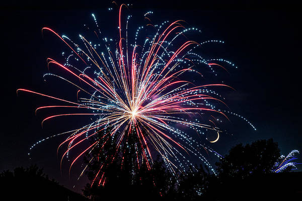 Photograph - Fireworks And Moon by Allin Sorenson
