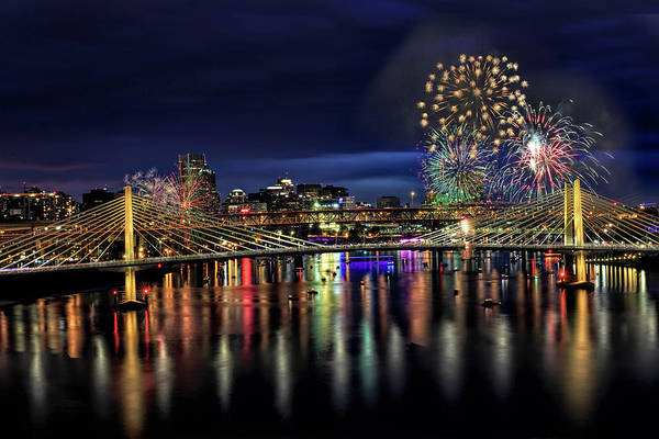 Photograph - Fireworks And Tillikum Crossing by Wes and Dotty Weber