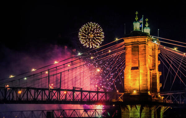 Wall Art - Photograph - Fireworks Bursting Over Cincinnati Bridge by Art Spectrum