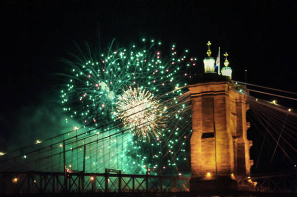Wall Art - Photograph - Fireworks Bursting Over John A. Roebling Bridge  by Art Spectrum