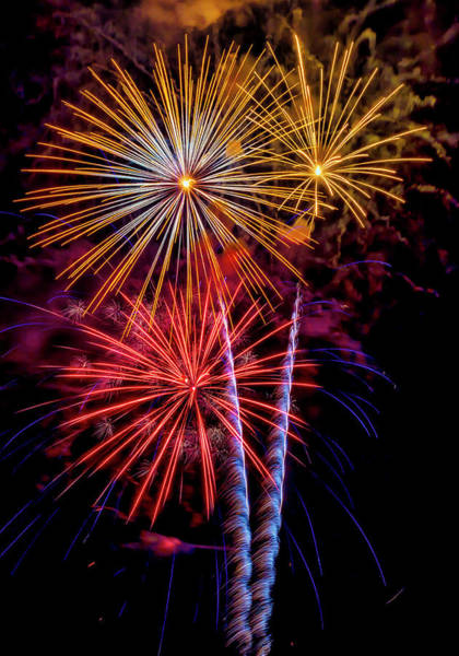 Photograph - Fireworks Colorful Explosions by Garry Gay