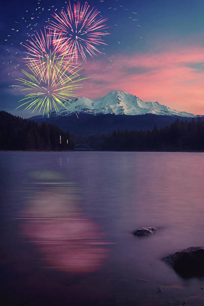 Wall Art - Photograph - Fireworks Mt. Shasta And Lake Siskiyou by Marnie Patchett