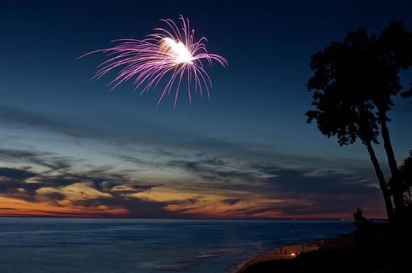 Bangs Photograph - Fireworks On A Beach At Sunset by Bradwieland