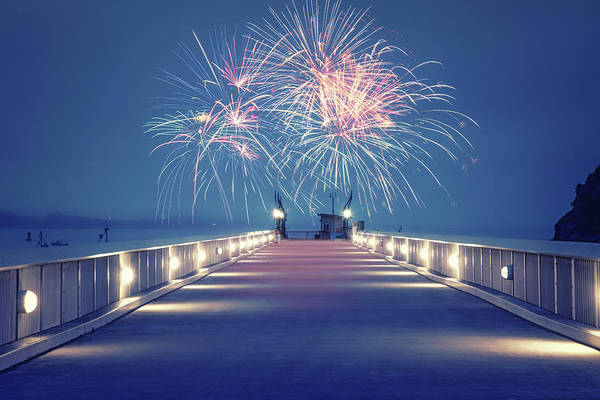 Wall Art - Photograph - Fireworks On The Pier by Marnie Patchett