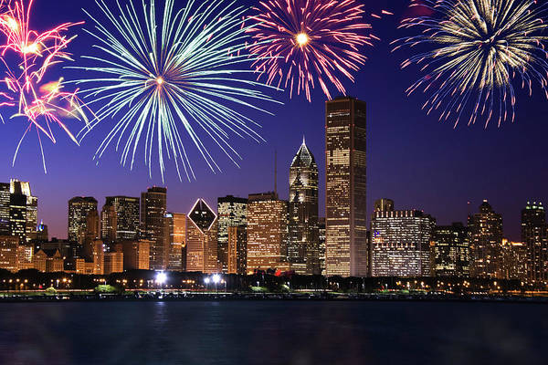 Wall Art - Photograph - Fireworks Over Chicago Skyline by Thinkstock