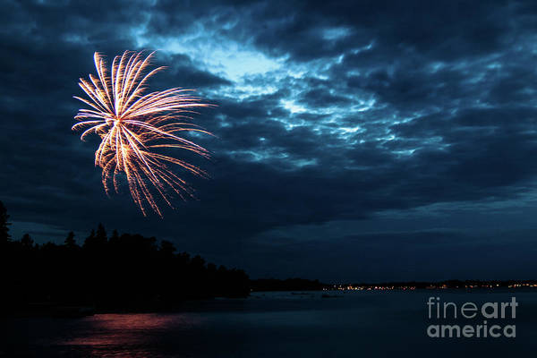 Photograph - Fireworks Over Rainy Lake by Lori Dobbs